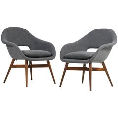 Beautiful Pair of 1960s Miroslav Navratil Lounge Chairs, New Upholstery