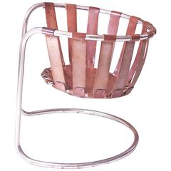 Vintage Rare French Brown Leather and Chrome Cantilever Sling Chair, 1970s