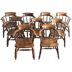 Matched Set of Nine Smoker's Bow Windsor Armchairs