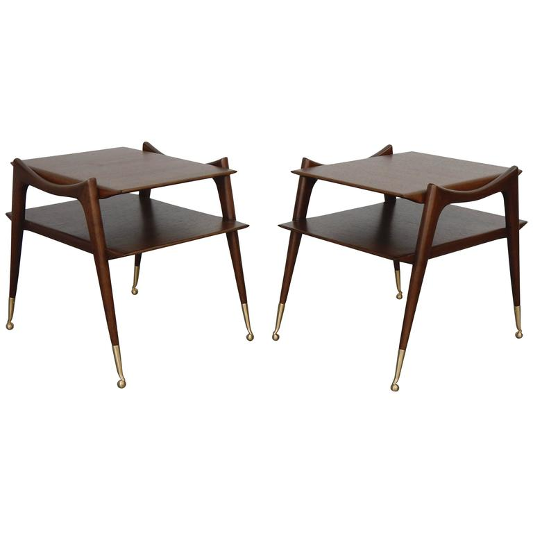 Ico Parisi Inspired Sculptural Mahogany Side Tables For Sale