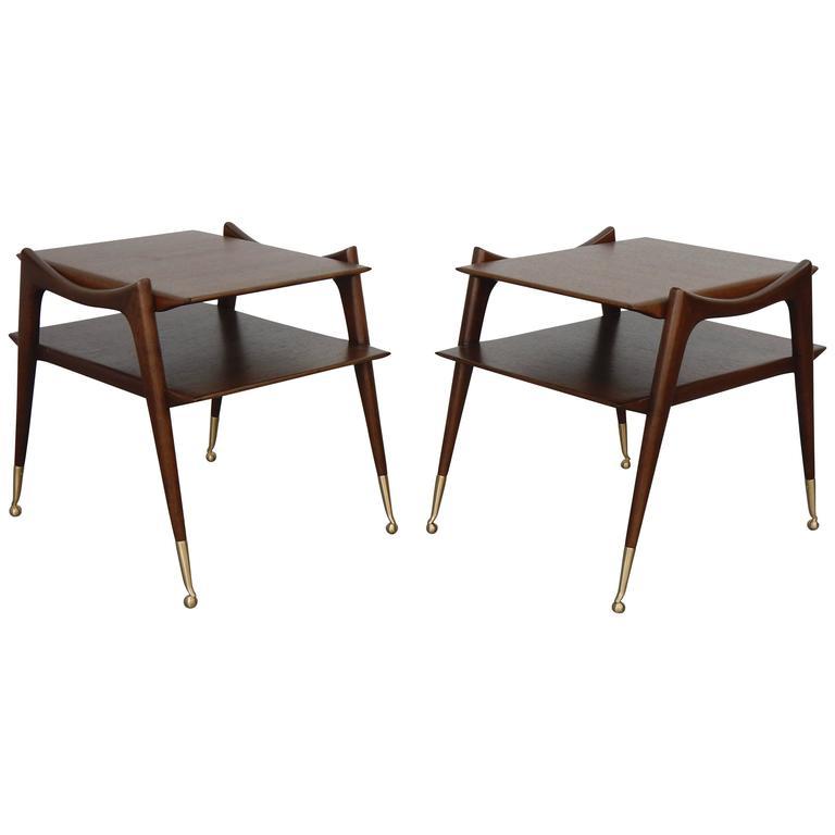 Ico Parisi Inspired Sculptural Mahogany Side Tables 1