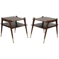 Ico Parisi Inspired Sculptural Mahogany Side Tables