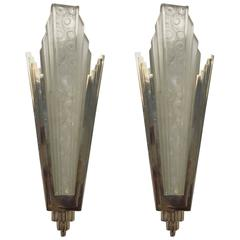 Pair of French Art Deco Sconces with Geometric and Skyscraper Motif