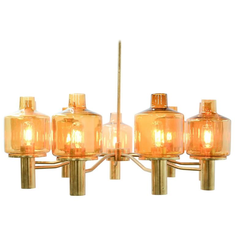 Hans-Agne Jakobsson Nine-Arm Brass Chandelier with Amber Glass 1