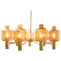 Hans-Agne Jakobsson Nine-Arm Brass Chandelier with Amber Glass