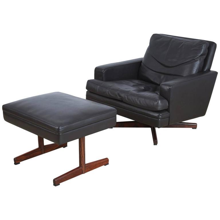 Vatne Møbler Norway Swivel Lounge Chair & Ottoman, circa 1960