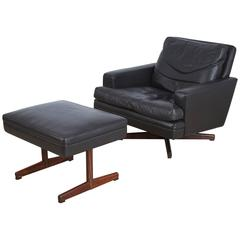 Vatne Møbler Norway Swivel Lounge Chair & Ottoman, circa 1960