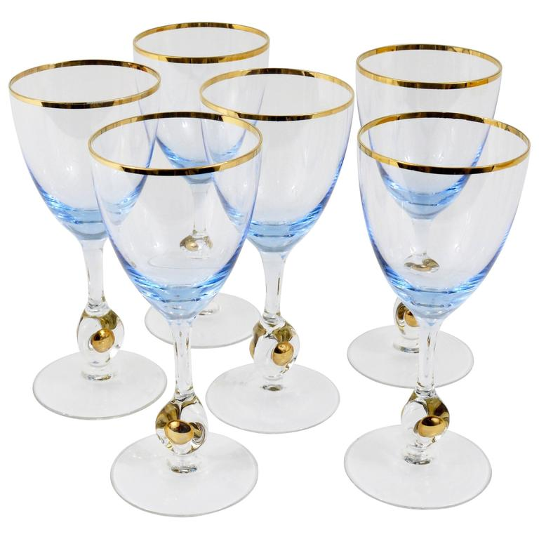 Six Beautiful Light Blue and Gold Wine or Water Glasses, Bohemia, 1960s For Sale
