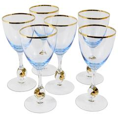 Six Beautiful Light Blue and Gold Wine or Water Glasses, Bohemia, 1960s