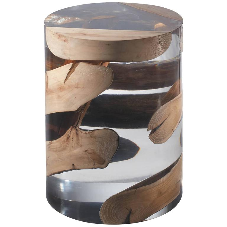 Driftwood in Acrylic Round Side Table