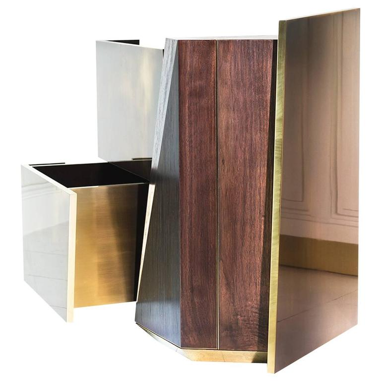 MMXVIGC Dual Drawer Brass and Walnut Nightstand Console or Side Table