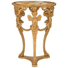 Italian Early 19th Century Louis XV Style Giltwood and Onyx Side Table