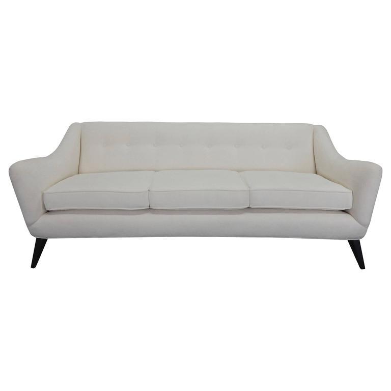 Italian Sofa with Textured White Velvet and Ebonized Legs 1