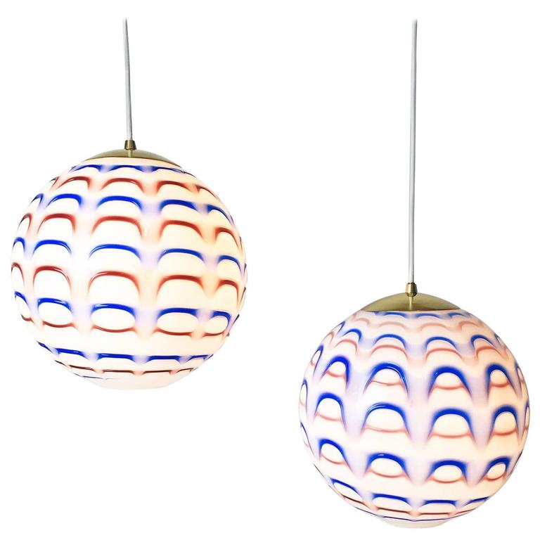 Pair Of Vintage Mid Century Italian Murano Art Glass Globe Pendant Lights 1960s For Sale