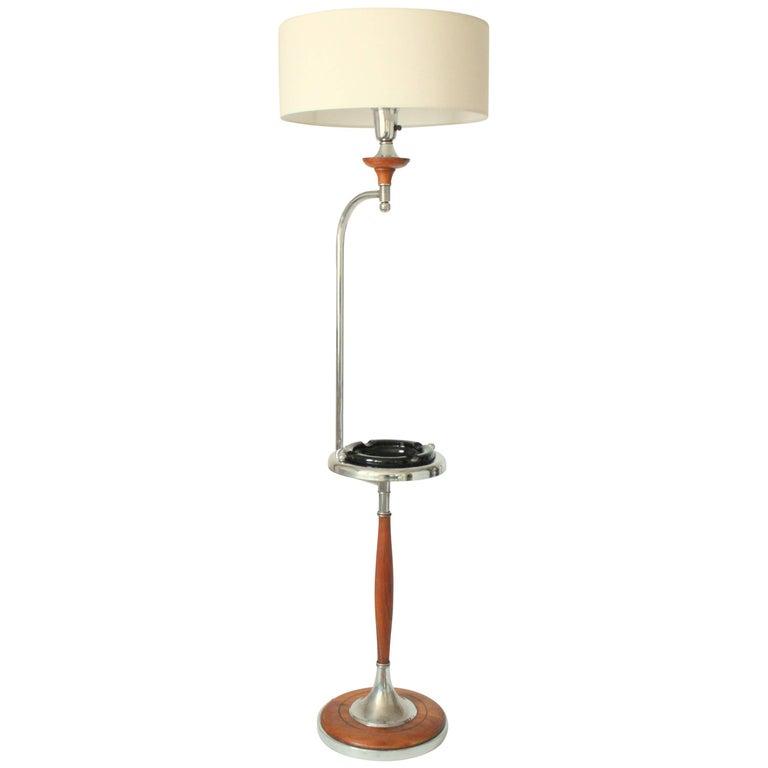 Art Deco Floor Lamp/Ashtray Combo, Walnut and Chrome, 1930s, USA For Sale