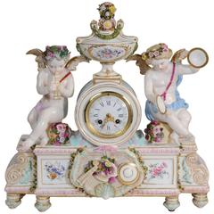 Large Antique French Meissen Style Porcelain Clock Music, circa 1880