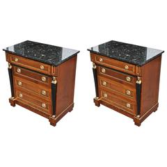 Pair of French Empire Style Mahogany Small Bedside Commodes or Chests
