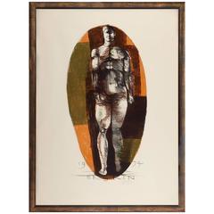 "Leonard Baskin, ""Universal Man"" Four Color Lithograph"