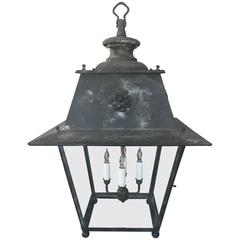 Enormous French Steel Lantern with Rosette Decoration