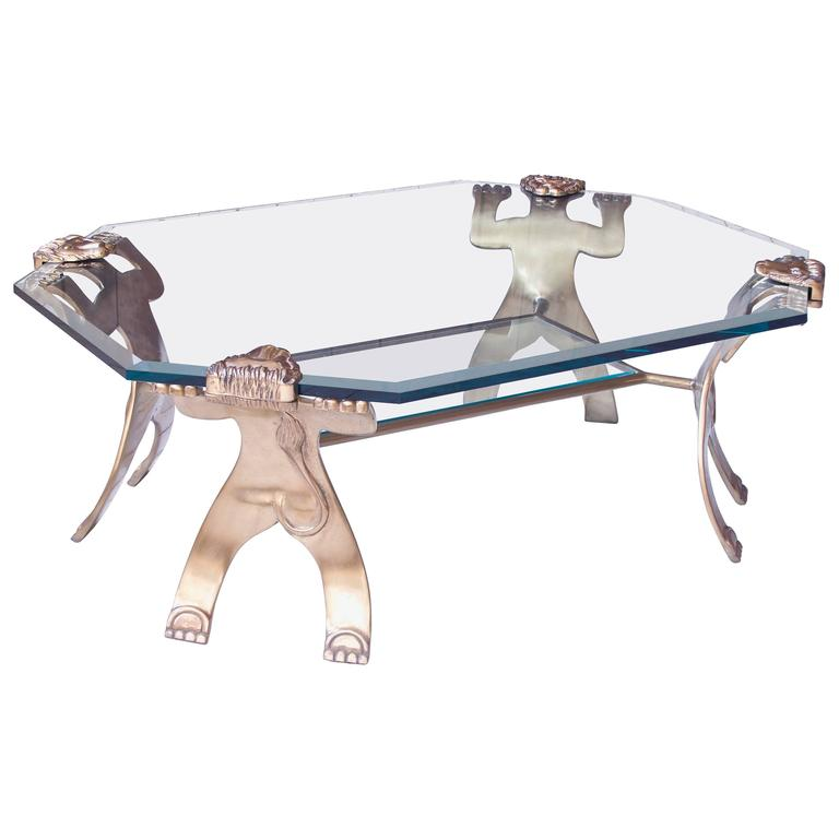 Brass and Glass Two-Tier Lion-Form Coffee Table in the Style of Pedro Friedeberg