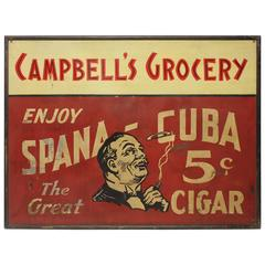Large 1900s American Hand-Painted Cigar Tin Sign