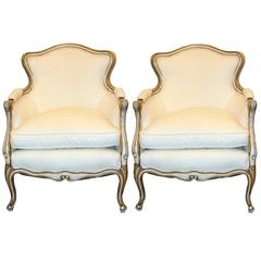Pair of Gilt and Painted Frame Louis XV Style Bergere Chairs