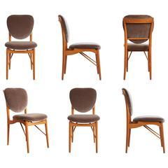 Finn Juhl for Bovirke Attributed Set of Six Teak Dining Chairs, circa 1960