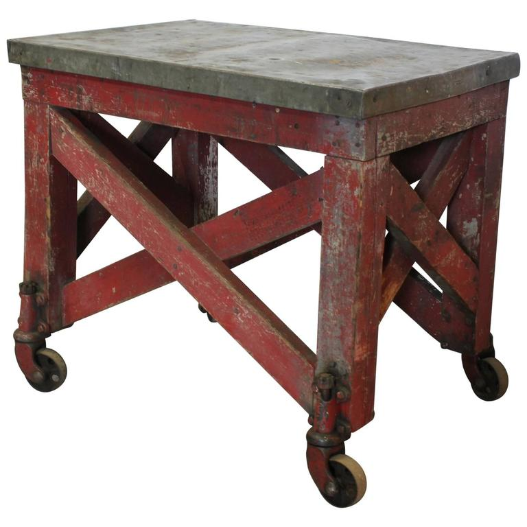 Antique American Industrial Wood and Metal Table or Bar Cart