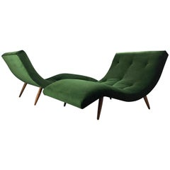 Adrian Pearsall Wave Lounge Chaises in Velvet with walnut legs Mid Century