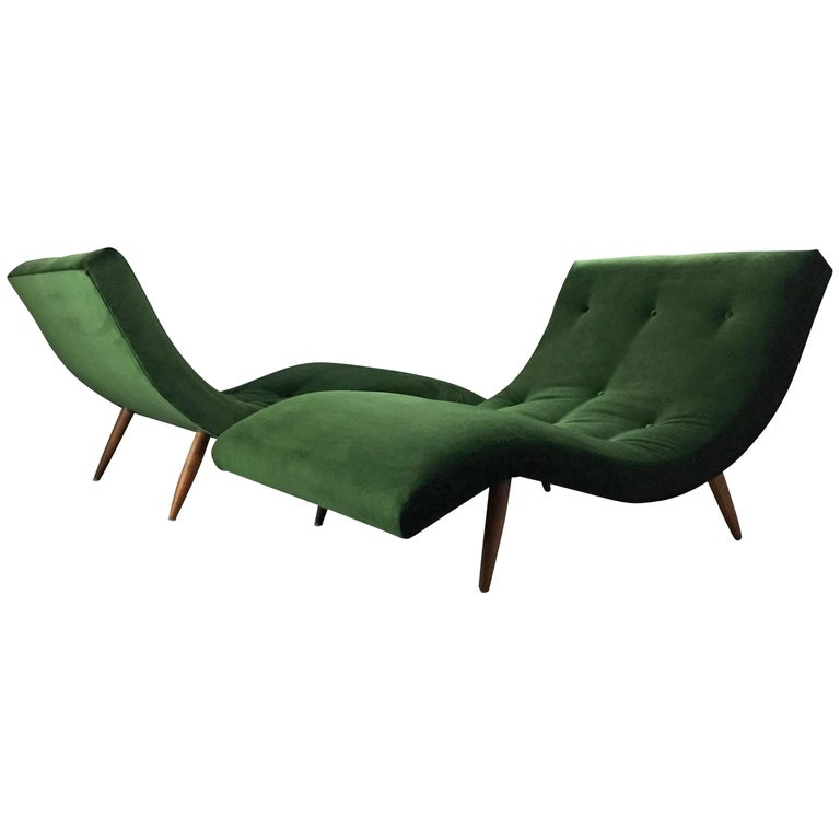 Adrian Pearsall Wave Lounge Chaises in Velvet with walnut legs Mid Century  1