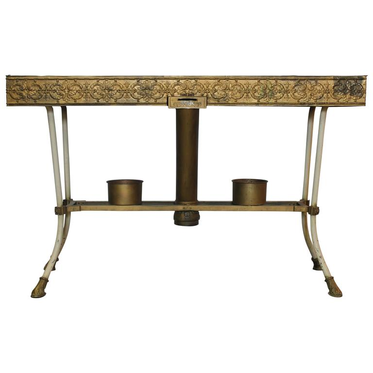 Antique Decorative Church Metal Table with Brass Decorations For Sale