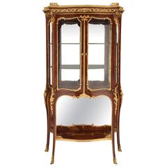 French 19th Century Louis XV St. Kingwood and Ormolu Vitrine, Signed F. Linke