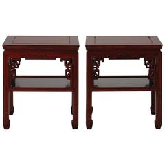 Pair of 1930s Chinese Carved Side Tables