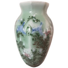 Chinese Celadon Blue Bird and Floral Decorated Hexagon Vase