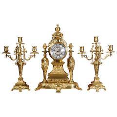 Large and Stunning Classical Gilt Bronze Clock Set Cherub