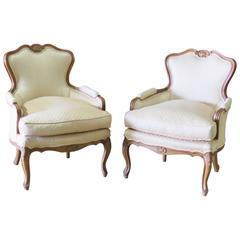 Pair of Louis XV Style Walnut Bergeres