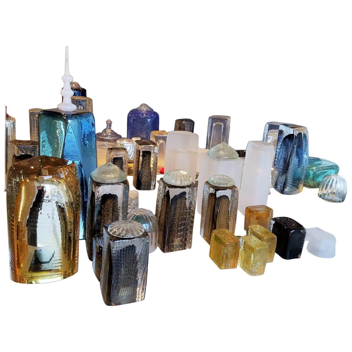 Downtown - Handmade Glass Skyline of Lower Manhattan, Contemporary, Modern