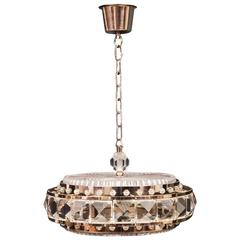 Ceiling Lamp, Glass, Plastic and Brass Case