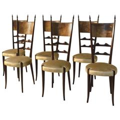 1950s Set of Six Aldo Tura Parchment and Ebonized Wood Dining Chairs