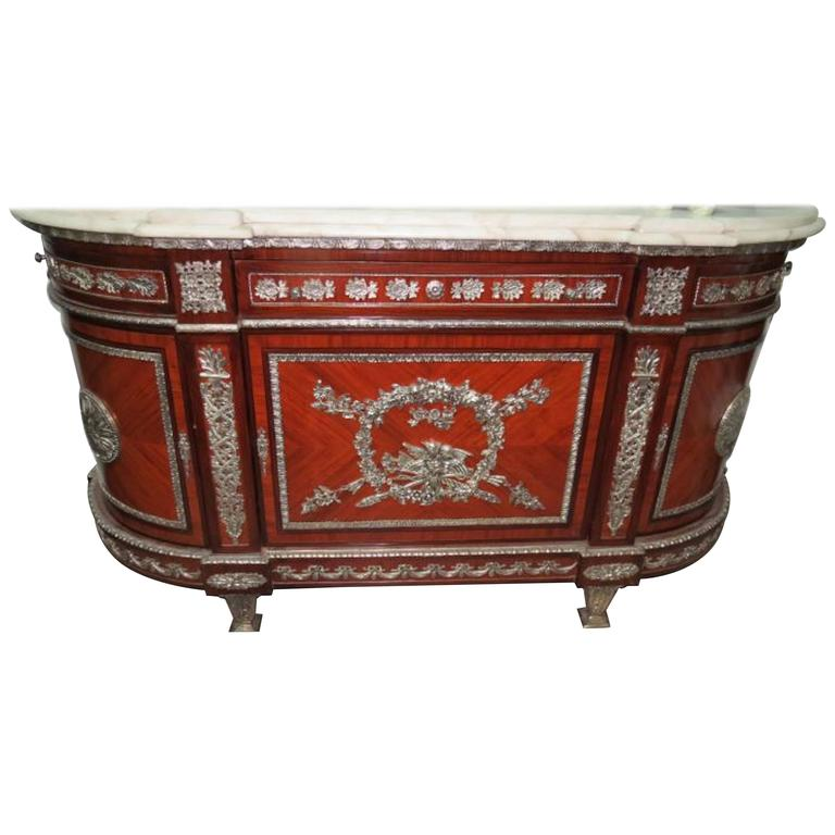 Empire Style French Commode with Silver Plate Bronzes and Marble Top