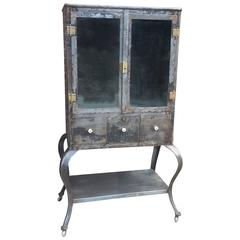 Industrial Brushed Steel Apothecary Medicine Cabinet