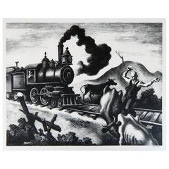 Thomas Hart Benton Original Lithograph, 1941 - Slow Train through Arkansas