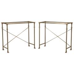 Matched Pair of Stainless Steel and Solid Bronze Console Tables