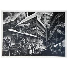 California Artist Millard Sheets Large WPA Lithograph, 1934, Family Flats