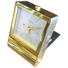 Vintage Brass Travel Alarm Clock by Jaeger-Coultre