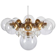 Stunning Large Brass Chandelier with Crystal Globes