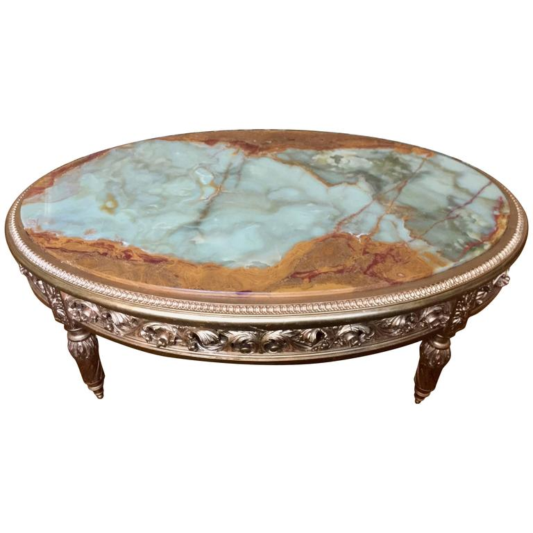20th Century French Giltwood And Onyx Coffee Table For Sale At 1stdibs