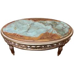 20th Century French Giltwood and Onyx Coffee Table