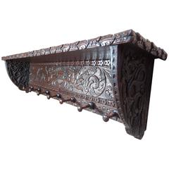 Early Victorian Period Dutch Oak Coatrack with Carved Angels