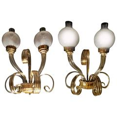 "Fantastic Pair of Sconces ""Reticello"" by Seguso, Murano, 1950s"